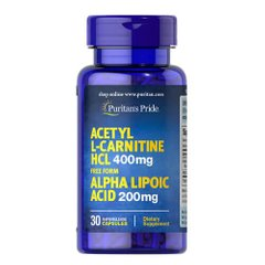 Puritan's Pride Acetyl L-Carnitine 400 mg with Alpha Lipoic Acid 200 mg 30 капсул