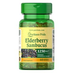 Puritan's Pride Elderberry Sambucus 1250 mg 60 жидких капсул