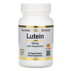 California Gold Nutrition Lutein with Zeaxanthin 20 mg 60 капсул