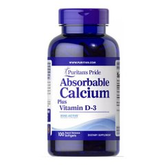 Puritan's Pride Absorbable Calcium Plus Vitamin D-3 100 softgels