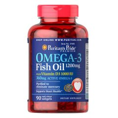 Puritan's Pride Omega 3 Fish Oil plus Vitamin D3 90 капсул
