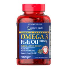 Puritan's Pride Double Strength Omega-3 Fish Oil 1200 mg 90 капсул
