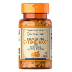 Puritan's Pride Vitamin C-1000 mg with Rose Hips Timed Release 60 таб