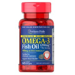 Puritan's Pride Omega-3 1290 mg Mini Gels 60 капсул