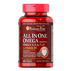 All In One Omega 3, 5, 6, 7 & 9 with Vitamin D3 60 капсул