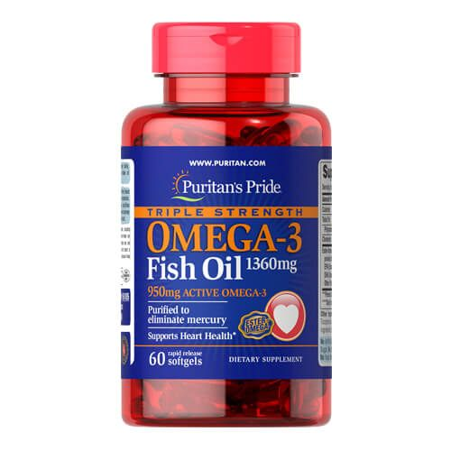 Puritan's Pride Triple Strength Omega-3 1360 mg 60 капсул